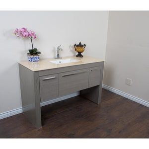 55.3 in Single sink vanity-Gray-Cream Marble