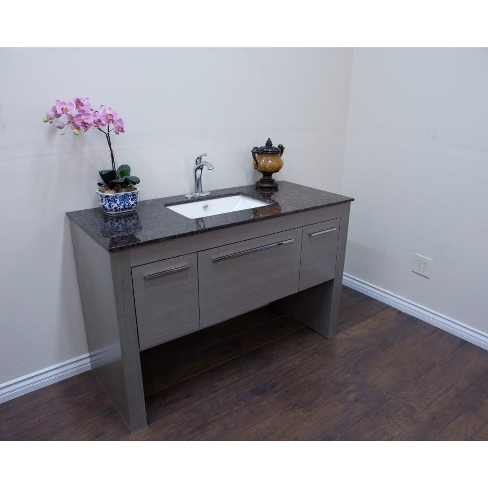 55.3 in Single sink vanity-Gray-Tan Brown