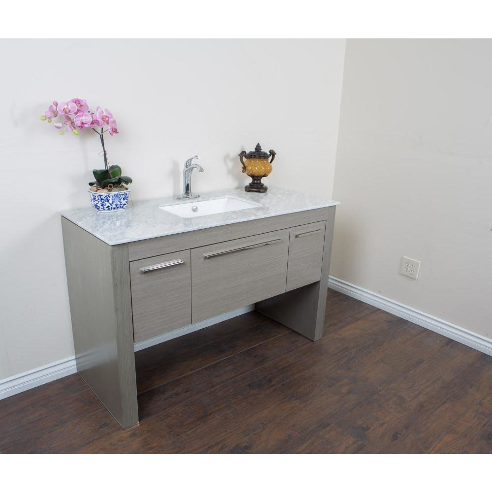 55.3 in Single sink vanity-Gray-White Marble