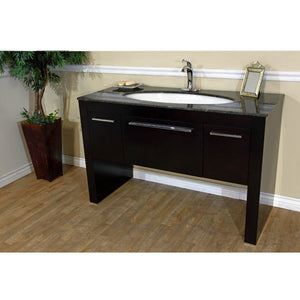 55.3 in Single sink vanity-Dark walnut- Baltic Brown marble