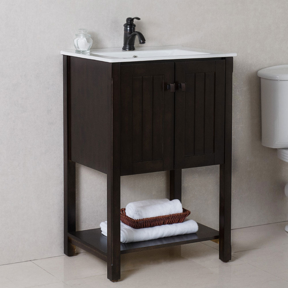24 in Single sink vanity-manufactured wood-sable walnut