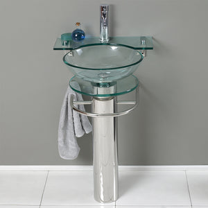 "Fresca Ovale 24"" Modern Glass Bathroom Pedestal"