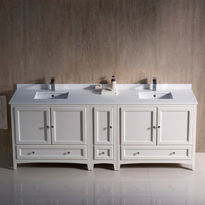 "Fresca Oxford 84"" Antique White Traditional Double Sink Bathroom Cabinets w/ Top & Sinks"