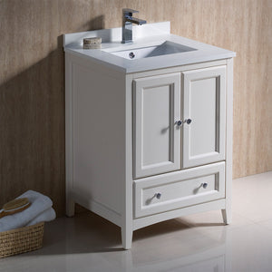 "Fresca Oxford 24"" Antique White Traditional Bathroom Cabinet w/ Top & Sinks"