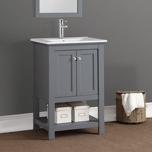 "Fresca Manchester 24"" Gray Traditional Bathroom Vanity"