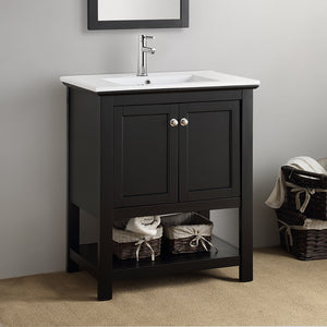 "Fresca Manchester 30"" Black Traditional Bathroom Vanity"