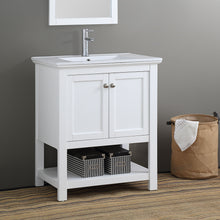 "Load image into Gallery viewer, Fresca Manchester 30"" White Traditional Bathroom Vanity"