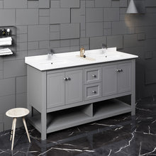 "Load image into Gallery viewer, Fresca Manchester 60"" Gray Traditional Double Sink Bathroom Cabinet w/ Top & Sinks"