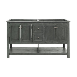 "Fresca Manchester Regal 60"" Gray Wood Veneer Traditional Double Sink Bathroom Cabinet"