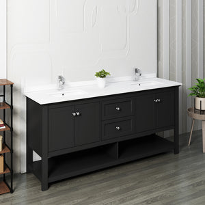 "Fresca Manchester 72"" Black Traditional Double Sink Bathroom Cabinet w/ Top & Sinks"