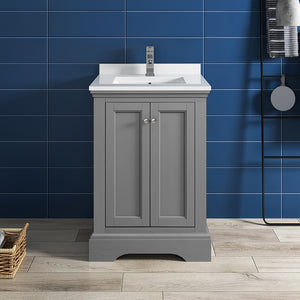 "Fresca Windsor 24"" Gray Textured Traditional Bathroom Cabinet w/ Top & Sink"