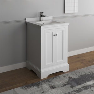 "Fresca Windsor 24"" Matte White Traditional Bathroom Cabinet w/ Top & Sink"