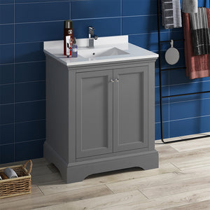 "Fresca Windsor 30"" Gray Textured Traditional Bathroom Cabinet w/ Top & Sink"
