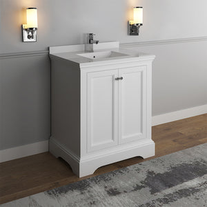 "Fresca Windsor 30"" Matte White Traditional Bathroom Cabinet w/ Top & Sink"
