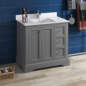"Fresca Windsor 36"" Gray Textured Traditional Bathroom Cabinet w/ Top & Sink"