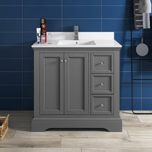 "Load image into Gallery viewer, Fresca Windsor 36"" Gray Textured Traditional Bathroom Cabinet w/ Top & Sink"