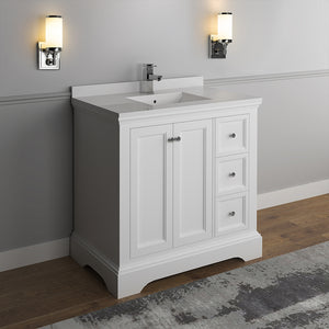 "Fresca Windsor 36"" Matte White Traditional Bathroom Cabinet w/ Top & Sink"