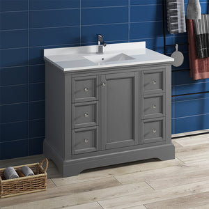 "Fresca Windsor 40"" Gray Textured Traditional Bathroom Cabinet w/ Top & Sink"