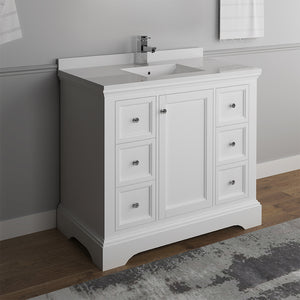 "Fresca Windsor 40"" Matte White Traditional Bathroom Cabinet w/ Top & Sink"