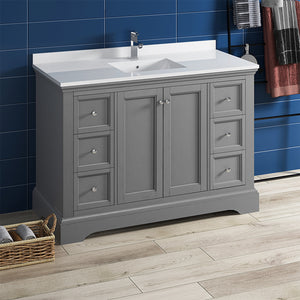 "Fresca Windsor 48"" Gray Textured Traditional Bathroom Cabinet w/ Top & Sink"