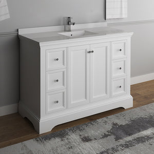 "Fresca Windsor 48"" Matte White Traditional Bathroom Cabinet w/ Top & Sink"