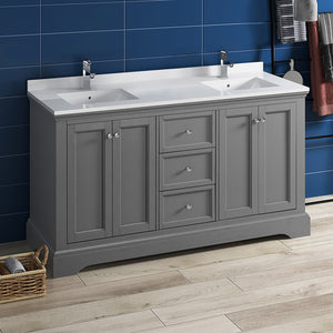 "Fresca Windsor 60"" Gray Textured Traditional Double Sink Bathroom Cabinet w/ Top & Sinks"