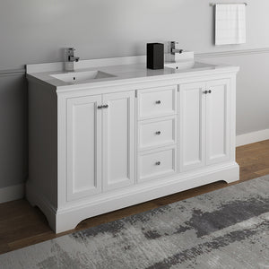"Fresca Windsor 60"" Matte White Traditional Double Sink Bathroom Cabinet w/ Top & Sinks"