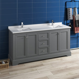 "Fresca Windsor 72"" Gray Textured Traditional Double Sink Bathroom Cabinet w/ Top & Sinks"