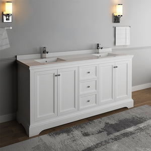 "Fresca Windsor 72"" Matte White Traditional Double Sink Bathroom Cabinet w/ Top & Sinks"