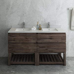 "Fresca Formosa 60"" Floor Standing Open Bottom Double Sink Modern Bathroom Cabinet w/ Top & Sinks"