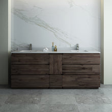 "Load image into Gallery viewer, Fresca Formosa 84"" Floor Standing Double Sink Modern Bathroom Cabinet w/ Top & Sinks"