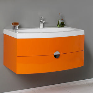 "Fresca Energia 36"" Orange Modern Bathroom Cabinet w/ Integrated Sink"