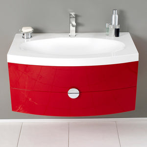"Fresca Energia 36"" Red Modern Bathroom Cabinet w/ Integrated Sink"