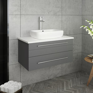 "Fresca Lucera 30"" Gray Wall Hung Modern Bathroom Cabinet w/ Top & Vessel Sink"