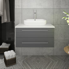 "Load image into Gallery viewer, Fresca Lucera 30"" Gray Wall Hung Modern Bathroom Cabinet w/ Top & Vessel Sink"