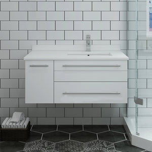 "Fresca Lucera 36"" White Wall Hung Modern Bathroom Cabinet w/ Top & Undermount Sink - Left Version"
