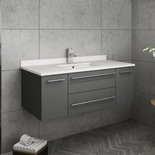 "Load image into Gallery viewer, Fresca Lucera 42"" Gray Wall Hung Modern Bathroom Cabinet w/ Top & Undermount Sink"