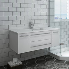 "Load image into Gallery viewer, Fresca Lucera 42"" White Wall Hung Modern Bathroom Cabinet w/ Top & Undermount Sink"