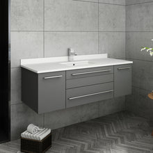 "Load image into Gallery viewer, Fresca Lucera 48"" Gray Wall Hung Modern Bathroom Cabinet w/ Top & Undermount Sink"
