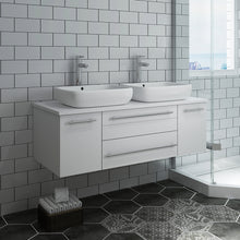 "Load image into Gallery viewer, Fresca Lucera 48"" White Wall Hung Modern Bathroom Cabinet w/ Top & Double Vessel Sinks"