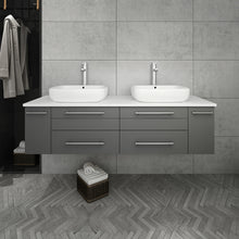 "Load image into Gallery viewer, Fresca Lucera 60"" Gray Wall Hung Modern Bathroom Cabinet w/ Top & Double Vessel Sinks"