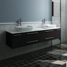 "Load image into Gallery viewer, Fresca Lucera 72"" Espresso Wall Hung Modern Bathroom Cabinet w/ Top & Double Vessel Sinks"