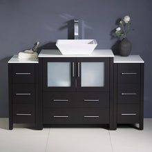 "Load image into Gallery viewer, Fresca Torino 54"" Espresso Modern Bathroom Cabinets w/ Top & Vessel Sink"