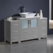 "Load image into Gallery viewer, Fresca Torino 54"" Gray Modern Bathroom Cabinets w/ Top & Vessel Sink"