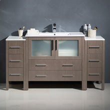 "Load image into Gallery viewer, Fresca Torino 60"" Gray Oak Modern Bathroom Cabinets w/ Integrated Sink"