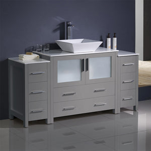 "Fresca Torino 60"" Gray Modern Bathroom Cabinets w/ Top & Vessel Sink"