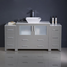 "Load image into Gallery viewer, Fresca Torino 60"" Gray Modern Bathroom Cabinets w/ Top & Vessel Sink"