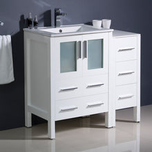 "Load image into Gallery viewer, Fresca Torino 36"" White Modern Bathroom Cabinets w/ Integrated Sink"