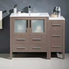 "Load image into Gallery viewer, Fresca Torino 42"" Gray Oak Modern Bathroom Cabinets w/ Integrated Sink"