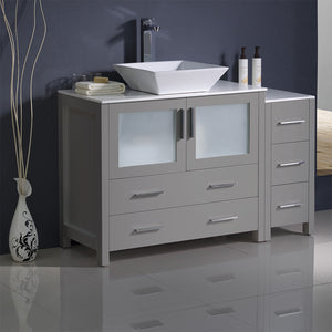 "Fresca Torino 48"" Gray Modern Bathroom Cabinets w/ Top & Vessel Sink"